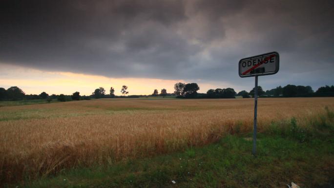Sign in Wheat Field Near Copenhagen
