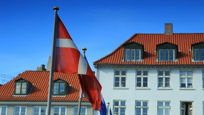 Flags Blow in Wind in Denmark