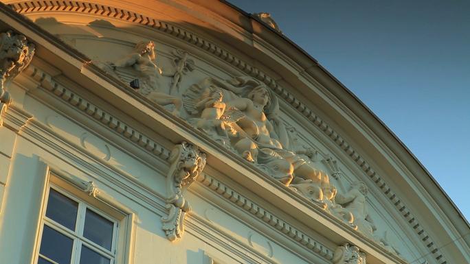Sculpture on Copenhagen Building at Sunset