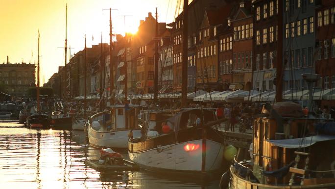 Boat Harbor at Sunset in Copenhagen, Denmark