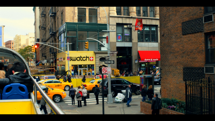 Fleet of Taxis in New York City Intersection