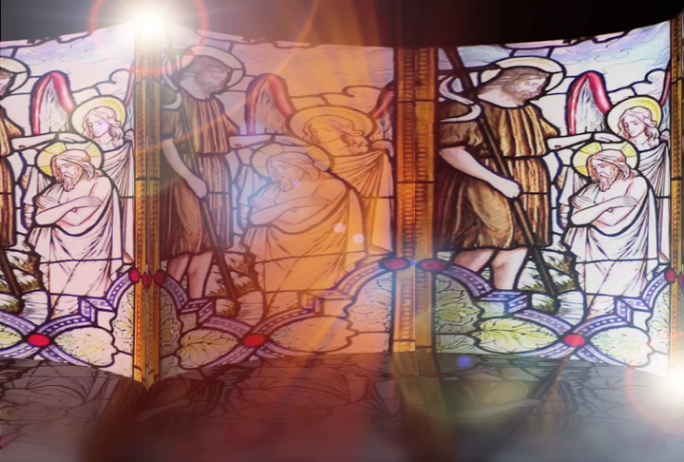 Stained glass with light